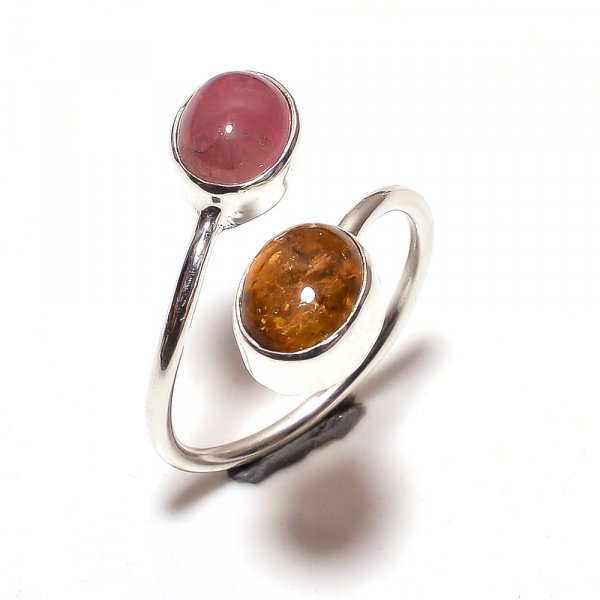 Multi Tourmaline Gemstone 925 Sterling Silver Ring Size 6.75 Adjustable