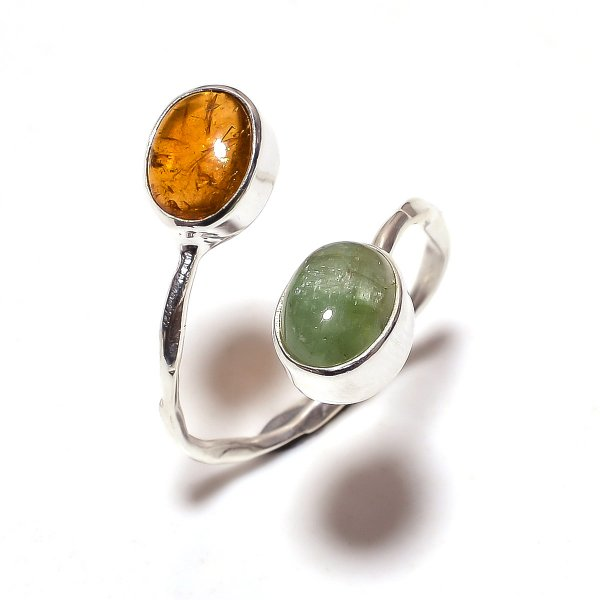 Multi Tourmaline Gemstone 925 Sterling Silver Ring Size 8 Adjustable