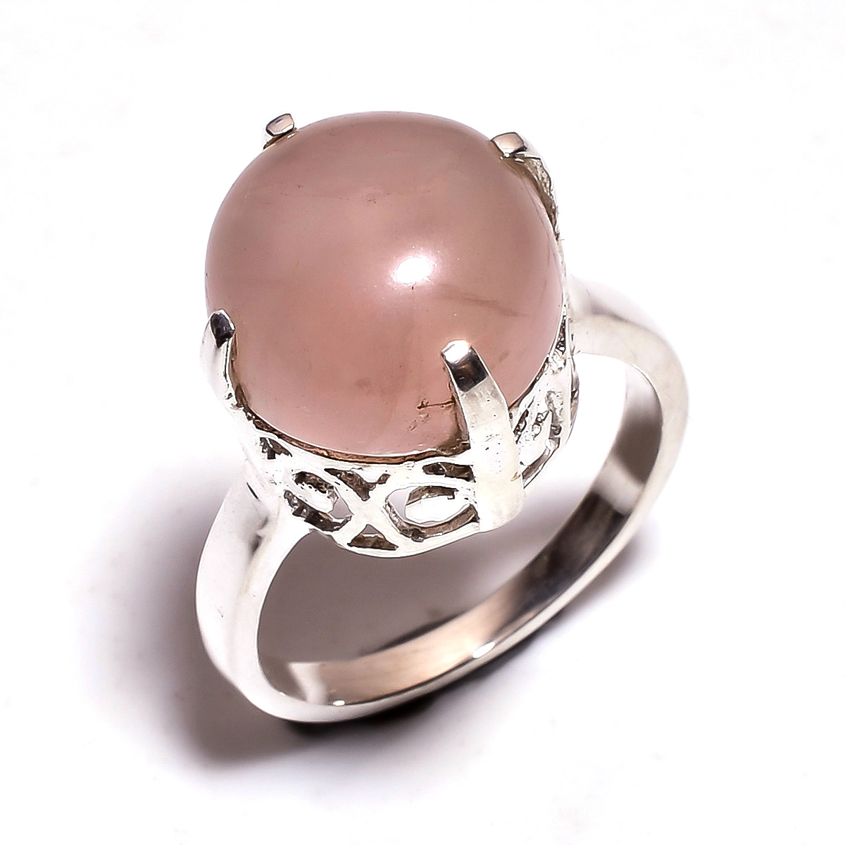 Rose Quartz Gemstone 925 Sterling Silver Ring Size