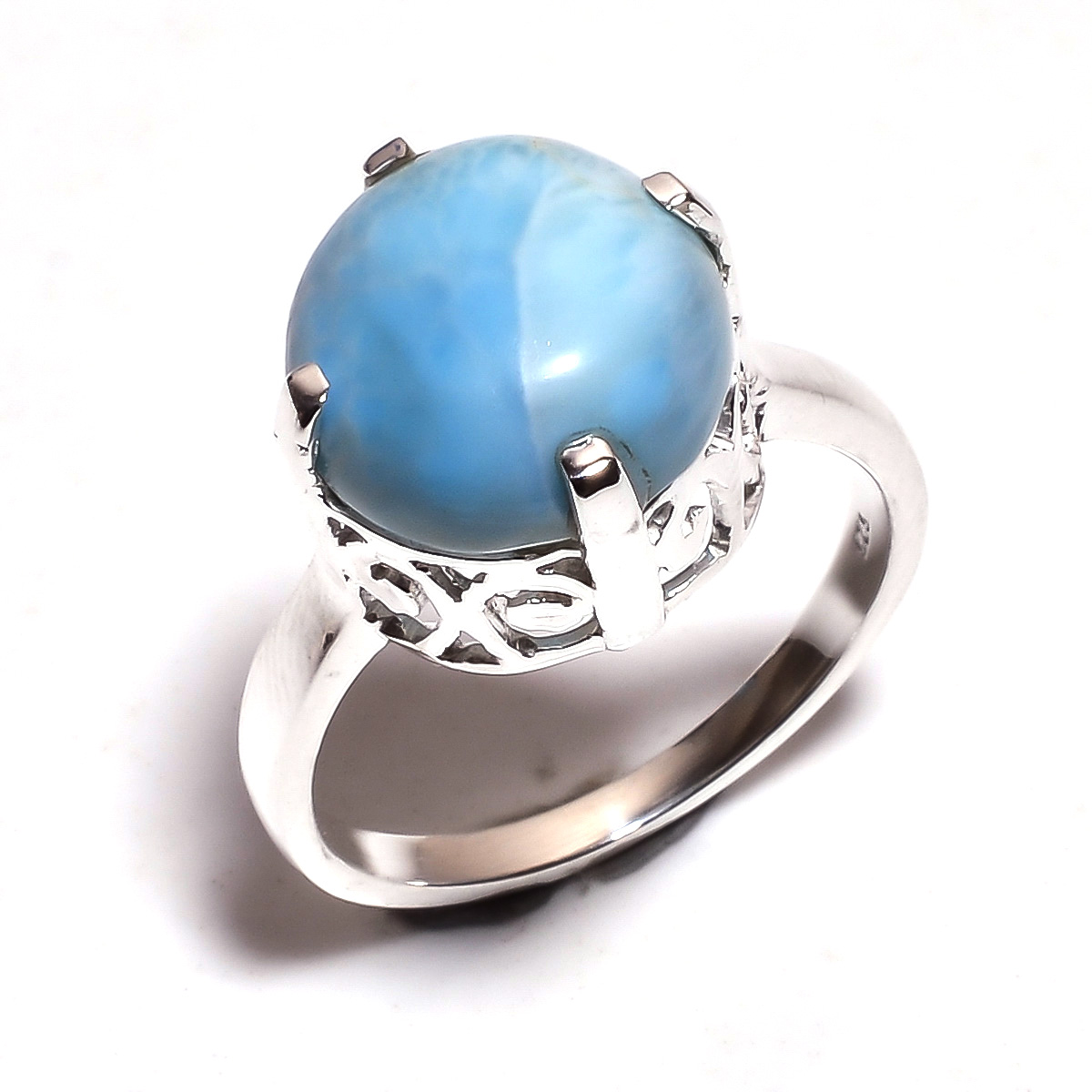 Larimar Gemstone 925 Sterling Silver Ring Size 8.5