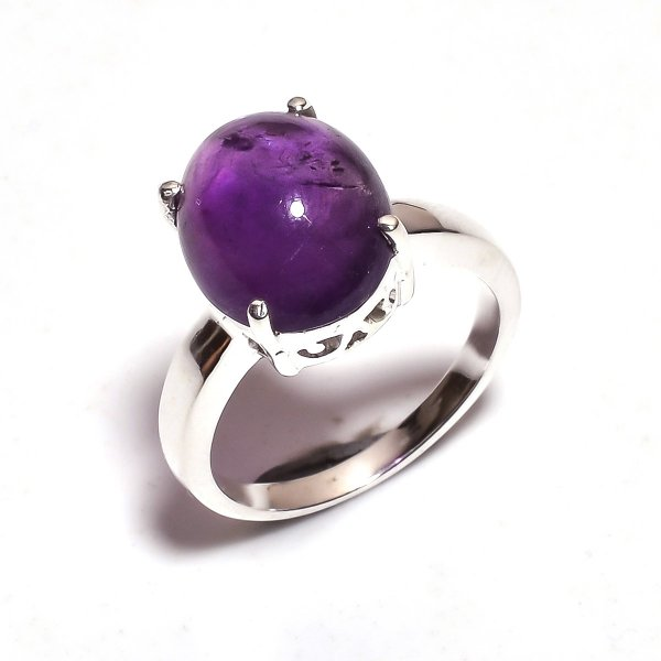 Amethyst Gemstone 925 Sterling Silver Ring Size