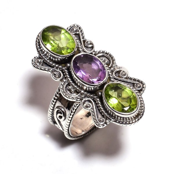 Peridot Amethyst Gemstone 925 Sterling Silver Ring Size 6.25