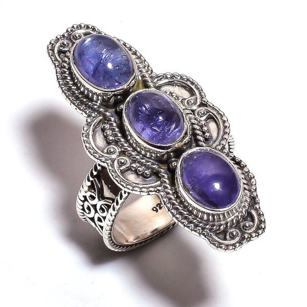 Tanzanite Gemstone 925 Sterling Silver Ring Size