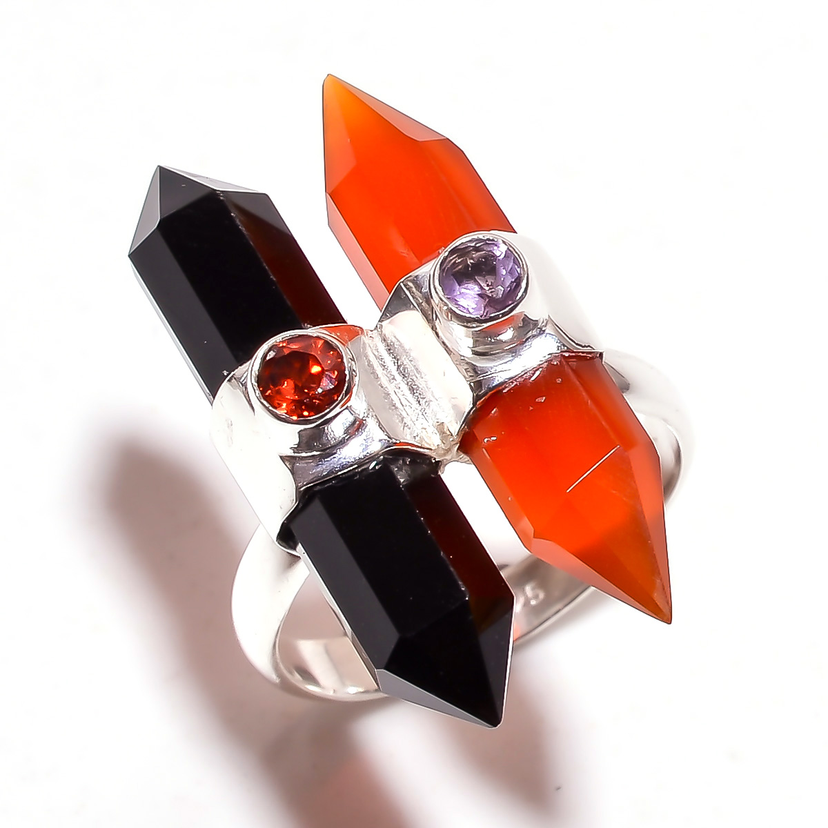 Red Onyx Black Onyx Gemstone 925 Sterling Silver Ring Size 6