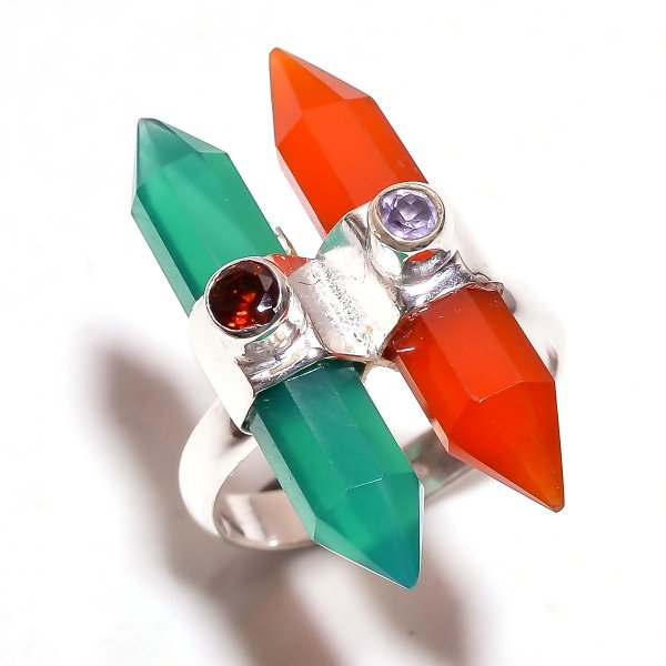 Green Onyx Red Onyx Gemstone 925 Sterling Silver Ring Size 6.75