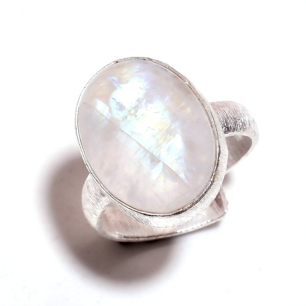 Rainbow Moonstone 925 Sterling Silver Ring Size 6 Adjustable