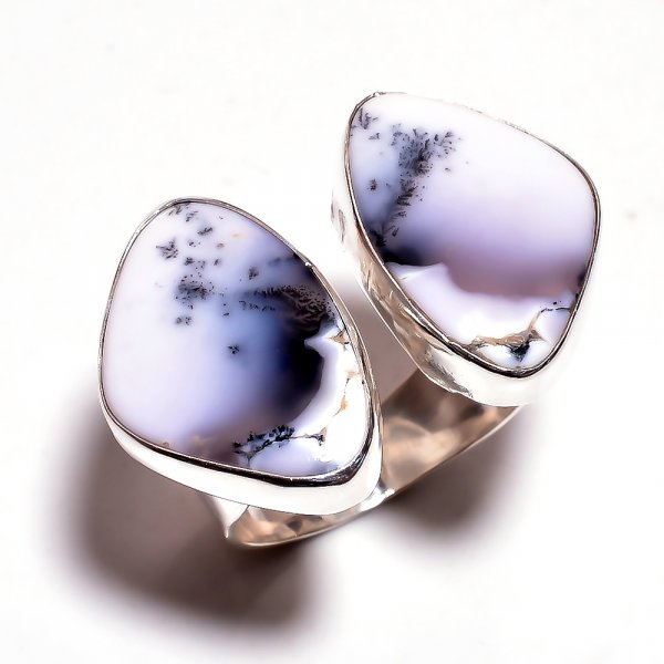 Dendrite Opal Gemstone 925 Sterling Silver Ring Size 7.25 Adjustable