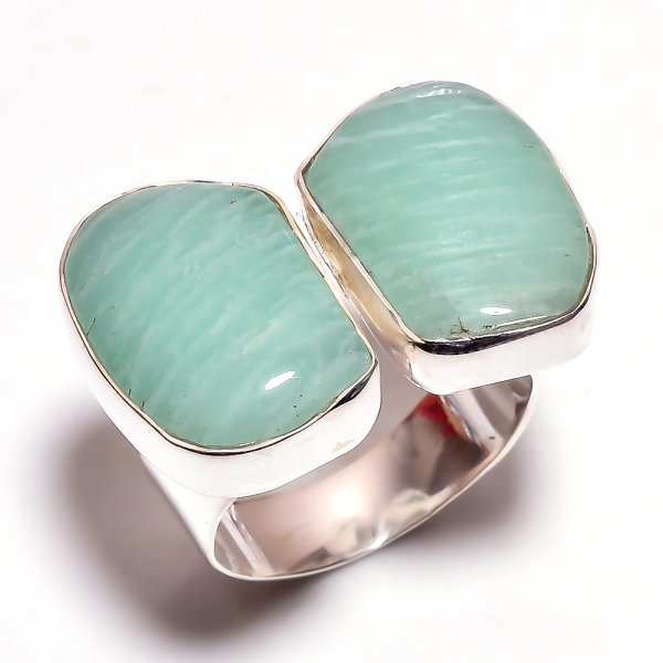 Amazonite Gemstone 925 Sterling Silver Ring Size 7.25 Adjustable