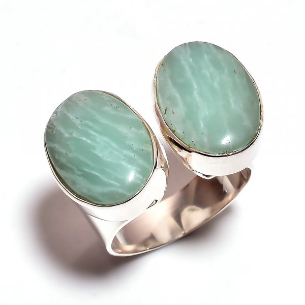 Amazonite Gemstone 925 Sterling Silver Ring Size 6.25 Adjustable