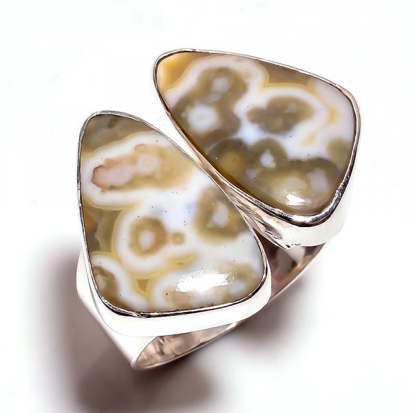 Ocean Jasper Gemstone 925 Sterling Silver Ring Size 6.25 Adjustable