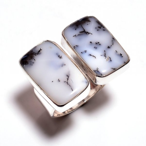 Dendrite Opal Gemstone 925 Sterling Silver Ring Size 6.75 Adjustable
