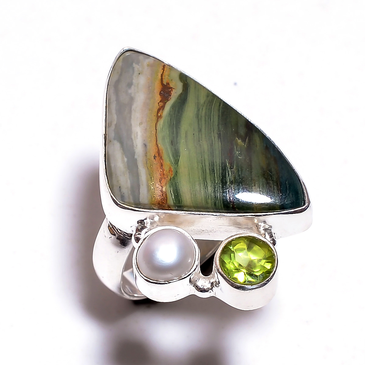 Larsonite Gemstone 925 Sterling Silver Ring Size 7