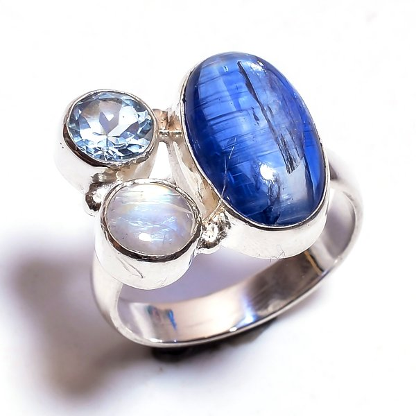 Blue Kyanite Multi Gemstone 925 Sterling Silver Ring Size 8
