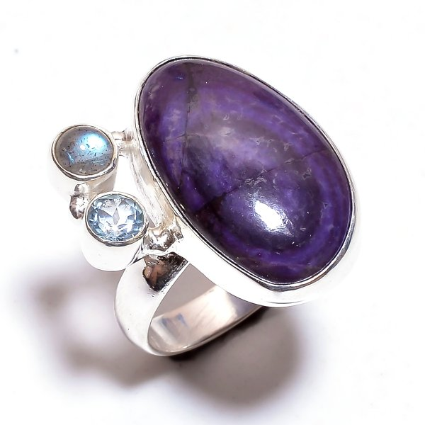 Sugilite Multi Gemstone 925 Sterling Silver Ring Size 8