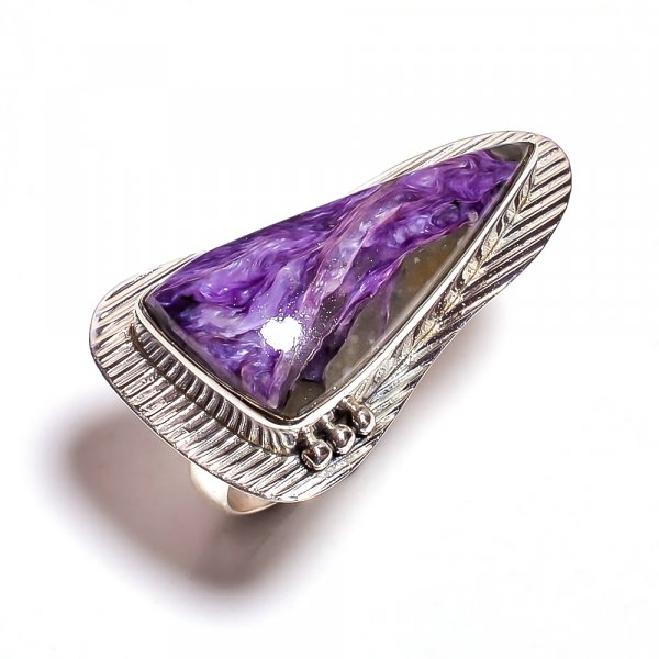 Large Charoite Gemstone 925 Sterling Silver Ring Size 8