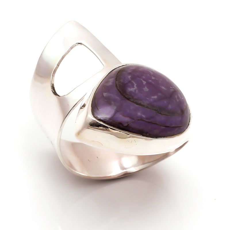 Sugilite Gemstone 925 Sterling Silver Ring Size 8 Adjustable