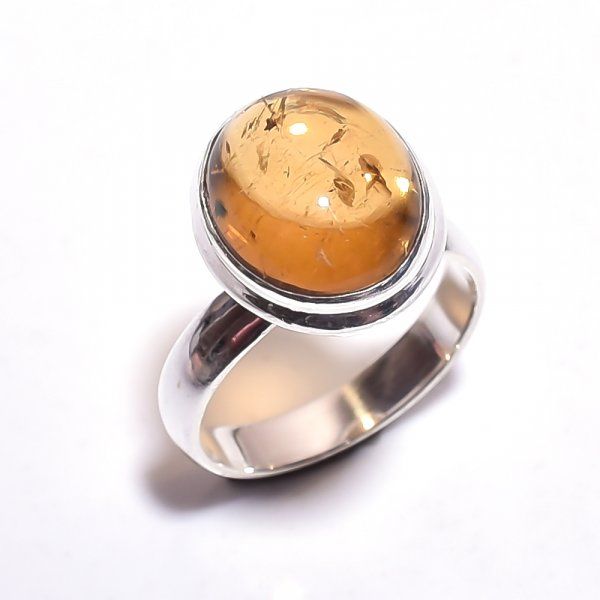 Citrine Gemstone 925 Sterling Silver Ring Size 6