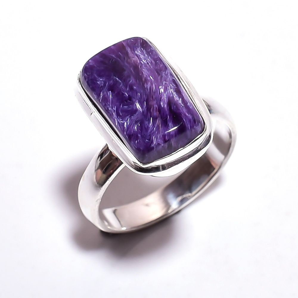 Charoite Gemstone 925 Sterling Silver Ring Size 7
