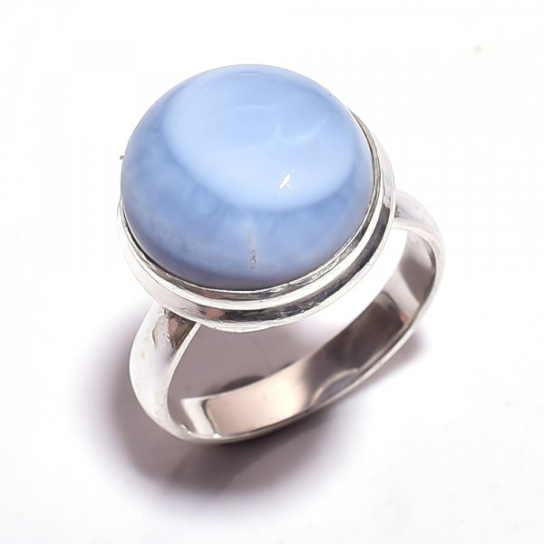 Owyhee Blue Opal Gemstone 925 Sterling Silver Ring Size 7.5