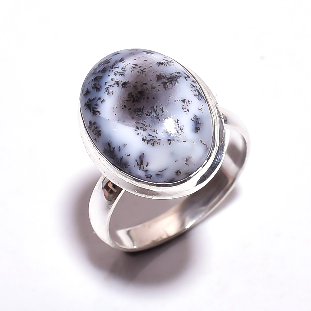 Dendrite Opal Gemstone 925 Sterling Silver Ring Size 8.75