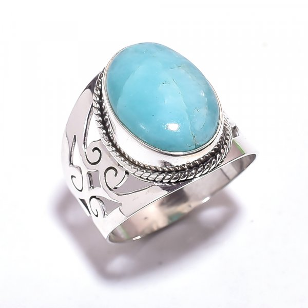 Amazonite Gemstone 925 Sterling Silver Ring Size 9