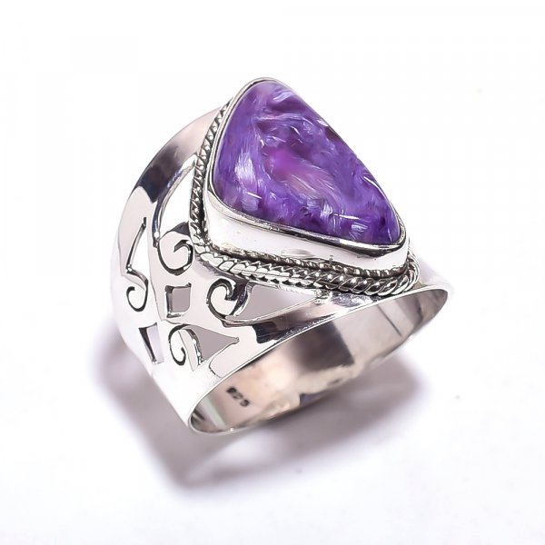Charoite Gemstone 925 Sterling Silver Ring Size 8.25