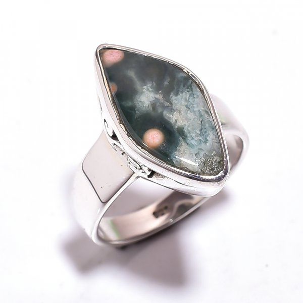 Ocean Jasper Gemstone 925 Sterling Silver Ring Size 7.25