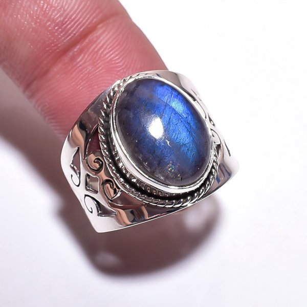 Labradorite Gemstone 925 Sterling Silver Ring Size 7.25