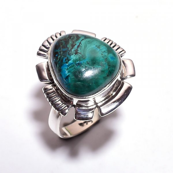 Chrysocolla Gemstone 925 Sterling Silver Ring Size 7.75