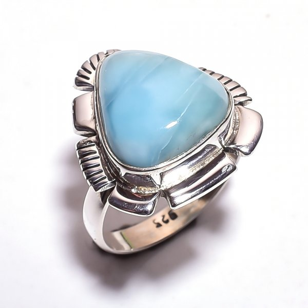 Owyhee Blue Opal Gemstone 925 Sterling Silver Ring Size 7.75