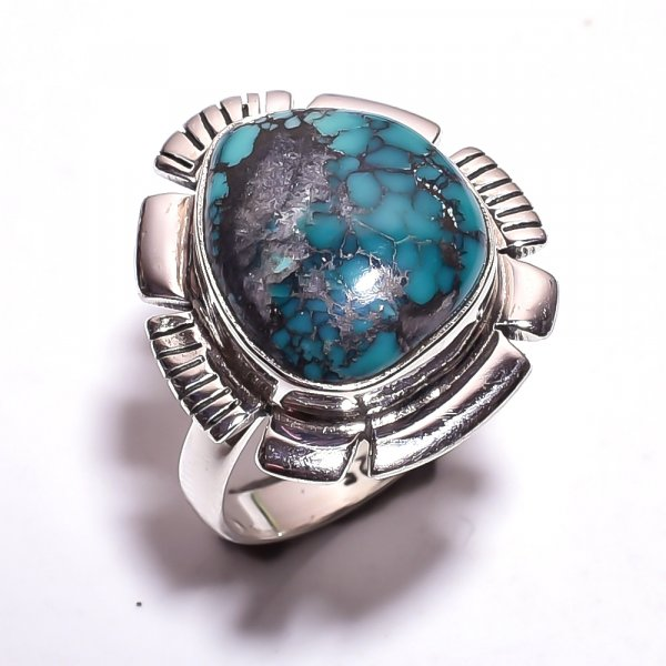 Chrysocolla Gemstone 925 Sterling Silver Ring Size 7