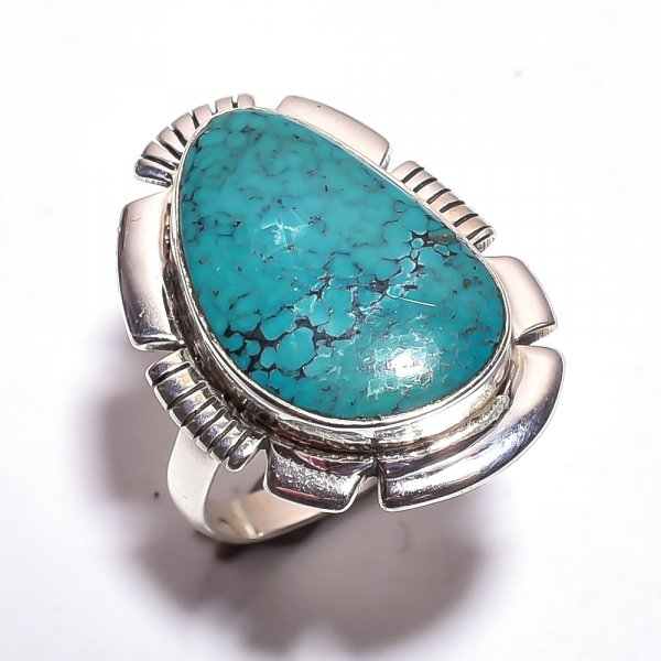 Chrysocolla Gemstone 925 Sterling Silver Ring Size 9