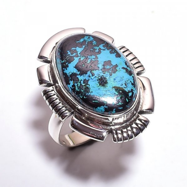 Chrysocolla Gemstone 925 Sterling Silver Ring Size 8