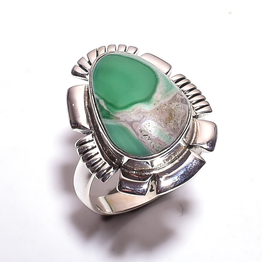 Varisite Gemstone 925 Sterling Silver Ring Size 6.75