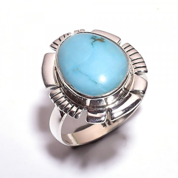 Turquoise Gemstone 925 Sterling Silver Ring Size 8.75