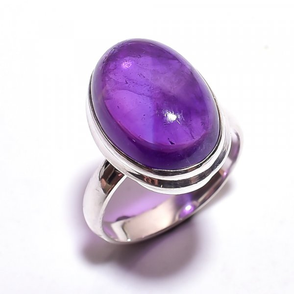 Amethyst Gemstone 925 Sterling Silver Ring Size 9