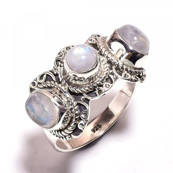 Rainbow Moonstone 925 Sterling Silver Ring Size 7.75