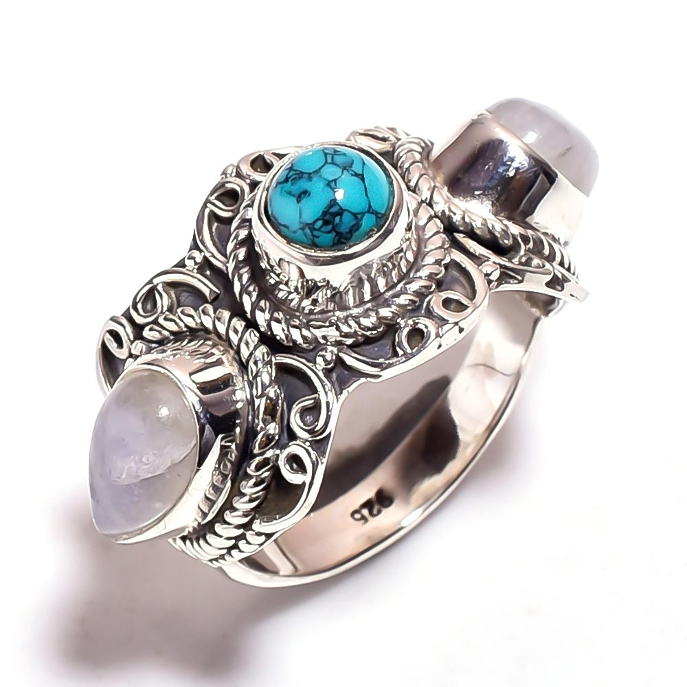 Turquoise Gemstone 925 Sterling Silver Ring Size 7.75
