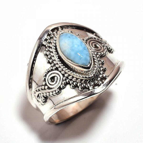 Larimar Gemstone 925 Sterling Silver Ring Size 9