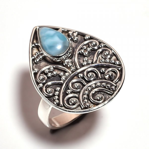Larimar Gemstone 925 Sterling Silver Ring Size 6