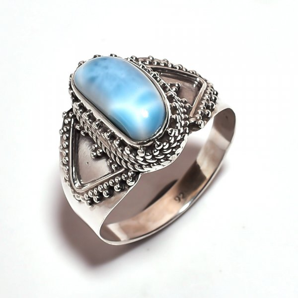 Larimar Gemstone 925 Sterling Silver Ring Size 9.5