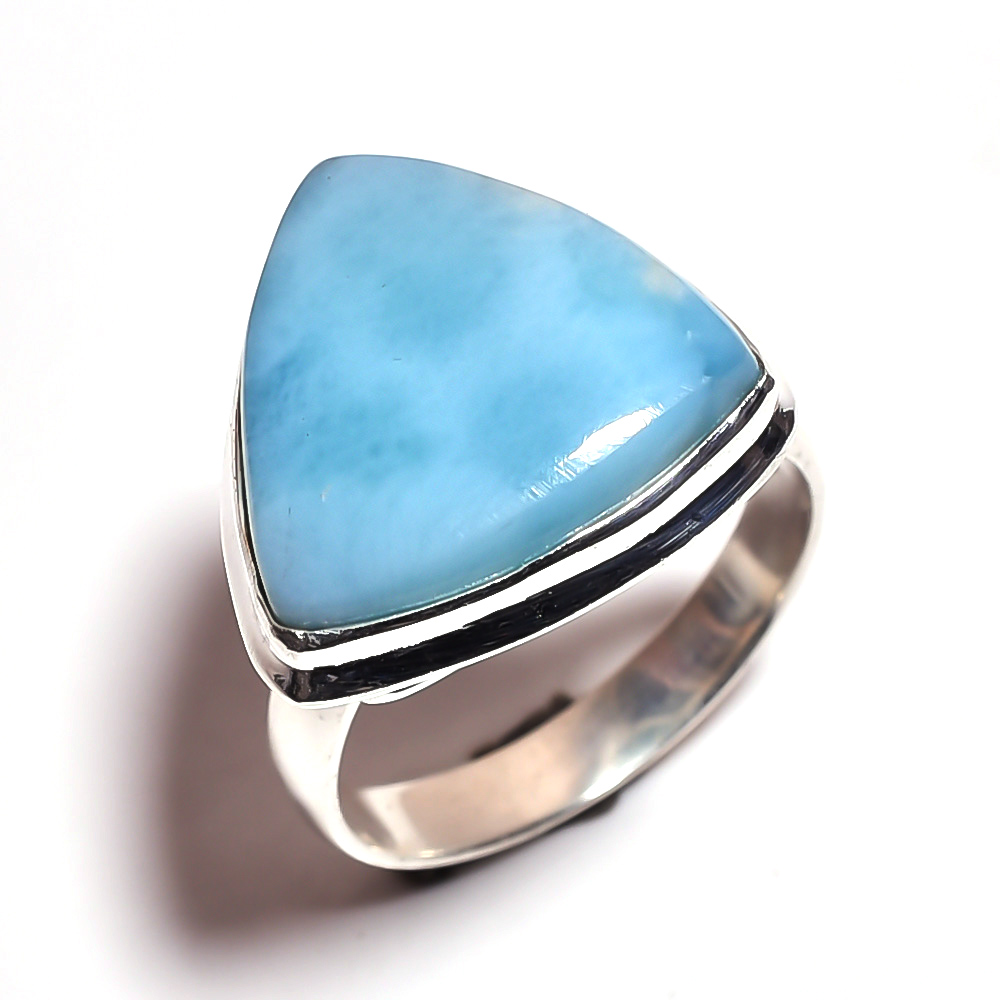 Larimar Gemstone 925 Sterling Silver Ring Size 8.75