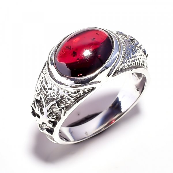 Garnet Gemstone 925 Sterling Silver Ring Size 7