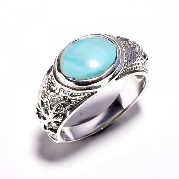 Larimar Gemstone 925 Sterling Silver Ring Size 8.25