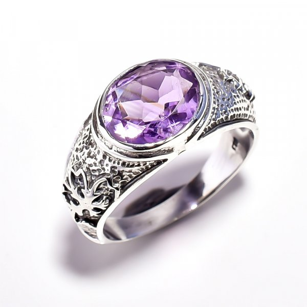 Amethyst Gemstone 925 Sterling Silver Ring Size 8.75