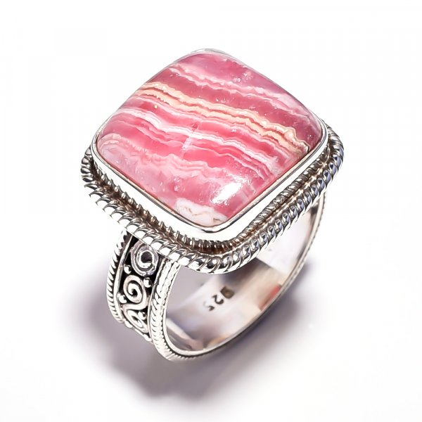 Rhodochrosite Gemstone 925 Sterling Silver Ring Size 7.25