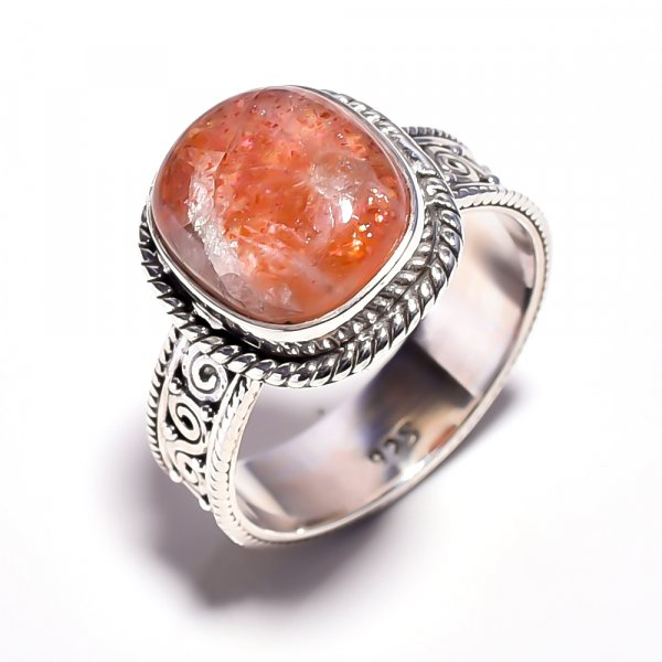 Sunstone Gemstone 925 Sterling Silver Ring Size 9.25