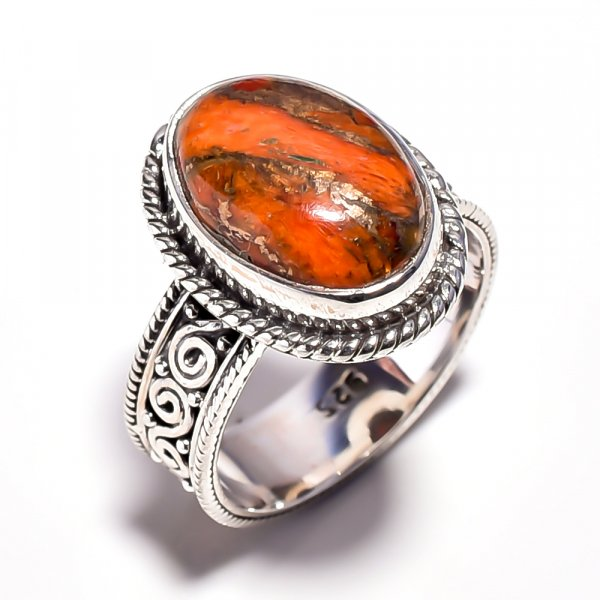Orange Copper Turquoise Gemstone 925 Sterling Silver Ring Size 7.25