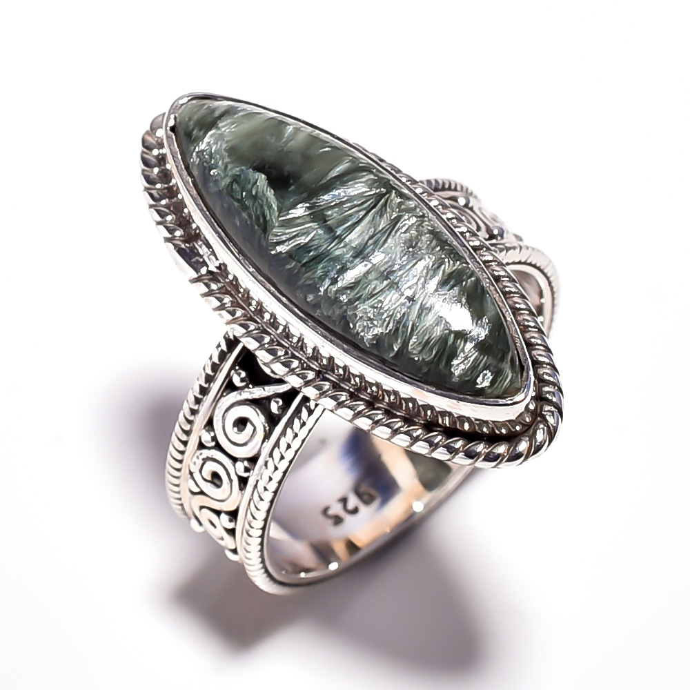 Seraphinite Gemstone 925 Sterling Silver Ring Size 7.25