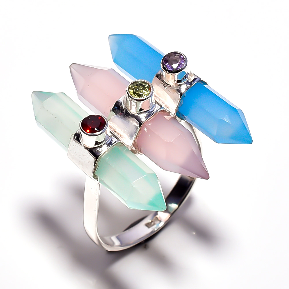 Chalcedony Gemstone 925 Sterling Silver Ring 7